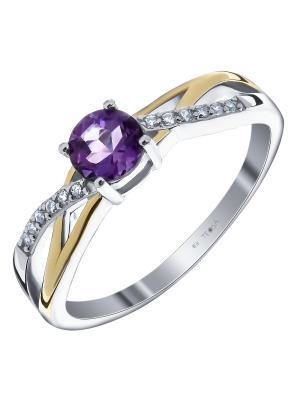 Кольцо Teosa. Цвет: золотистый, фиолетовый