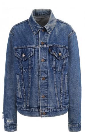 Джинсовая куртка с потертостями и декорированной спинкой R13. Цвет: голубой