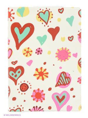 Обложка для паспорта Цветные сердечки Mitya Veselkov. Цвет: молочный, розовый, терракотовый