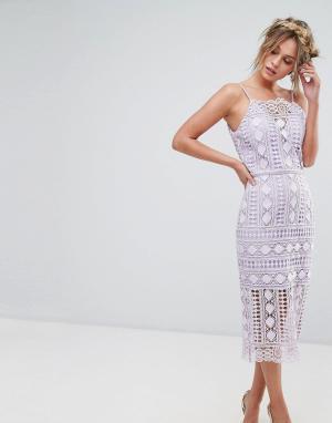 Chi London Кружевное платье миди с высоким воротом. Цвет: фиолетовый