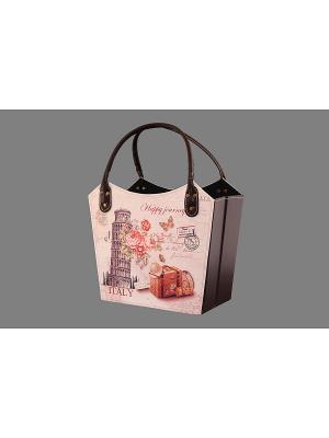 Газетница - сумочка складная Пизанская башня EL CASA. Цвет: бежевый, коричневый