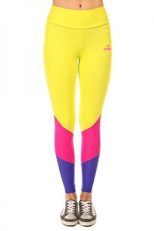 Леггинсы женские  New Zealand Legging Yellow/Blue/Pink CajuBrasil. Цвет: желтый,синий,розовый