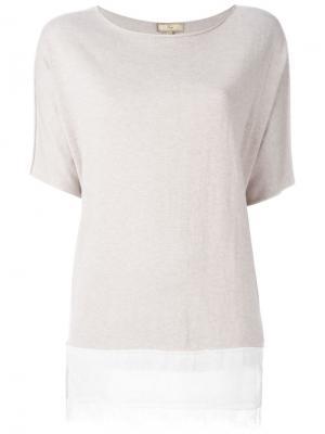Блузка с кружевным подолом Fay. Цвет: телесный