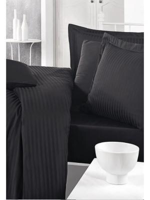Комплект постельного белья STRIPE SATIN Black/Черный, страйп-сатин, 200ТС, 100% хлопок, 1,5х CLASY. Цвет: черный