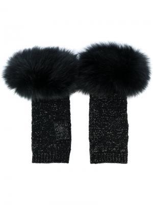 Перчатки с лисьим мехом Yves Salomon Accessories. Цвет: чёрный