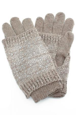 Набор: перчатки, митенки Elisabeth. Цвет: бежевый