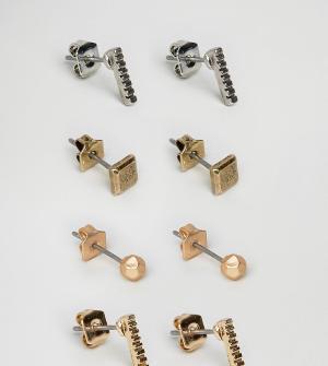 Icon Brand Набор из 4 пар сережек-гвоздиков (золотистые/серебристые). Цвет: мульти