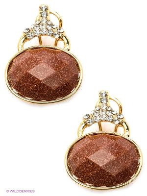 Серьги Bijoux Land. Цвет: коричневый, золотистый