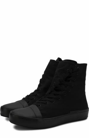 Высокие текстильные кеды на шнуровке с молнией Yohji Yamamoto. Цвет: черный