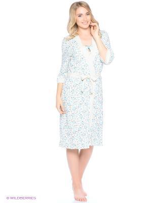 Комплект домашней одежды (халат, ночная сорочка) HomeLike. Цвет: голубой, молочный