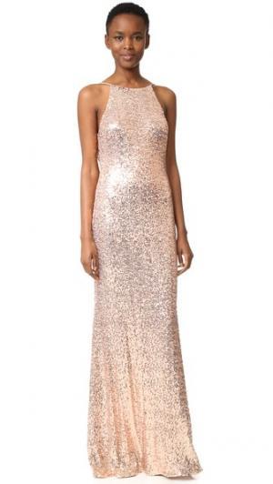 Вечернее платье с блестками и воротником-хомутом сзади Badgley Mischka Collection. Цвет: розовый