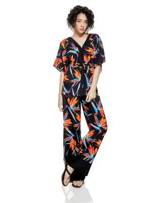 Легкий брючный костюм в пижамном стиле Nothing but Love. Цвет: черный,зеленый,оранжевый