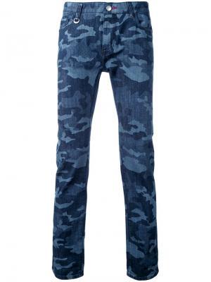 Камуфляжные джинсы кроя слим Guild Prime. Цвет: синий