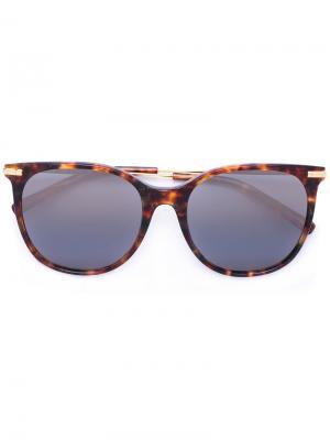 Крупные солнцезащитные очки Boucheron. Цвет: коричневый