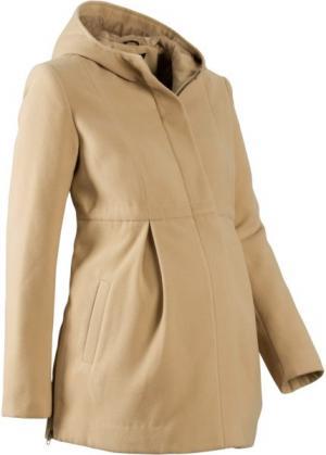 Мода для беременных: регулируемое полупальто с капюшоном (новый бежевый) bonprix. Цвет: новый бежевый