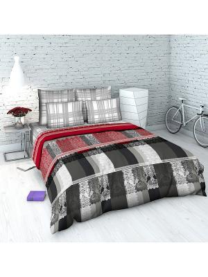Комплект постельного белья из бязи 2 спальный Василиса. Цвет: красный, серый