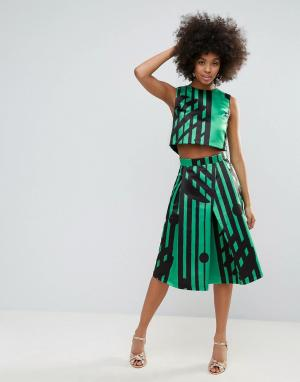 Horrockses Комбинируемая юбка миди с разноцветным принтом. Цвет: мульти
