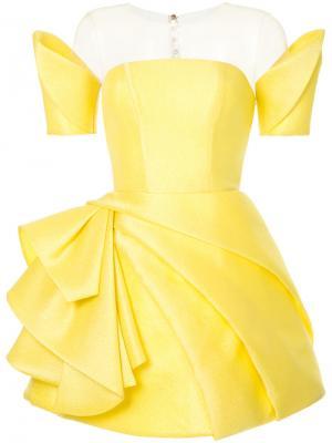 Приталенное платье геометрического кроя Isabel Sanchis. Цвет: жёлтый и оранжевый