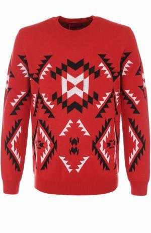 Шерстяной свитер с узором HUGO. Цвет: красный
