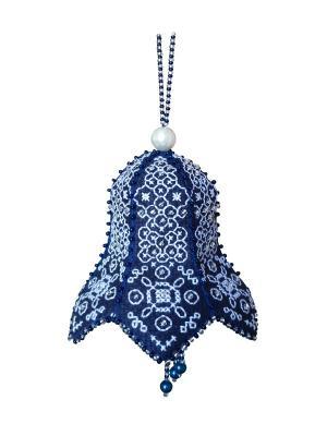 Набор для изготовления подвески Французский колокольчик ZENGANA. Цвет: темно-синий, серебристый, белый
