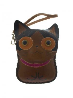 Кошелек ключница Кошка Tina Bolotina. Цвет: коричневый