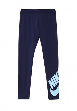 Леггинсы Nike. Цвет: синий