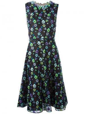 Расклешенное платье с цветочной вышивкой Oscar de la Renta. Цвет: чёрный