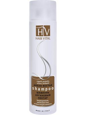 Шампунь Аргановый нектар 250мл Hair Vital. Цвет: золотистый, белый