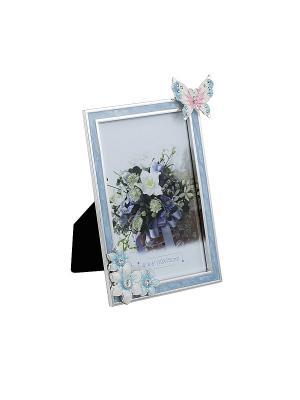 Фоторамка голубая c бабочкой, металлическая со стразами 10х15см PLATINUM quality. Цвет: голубой
