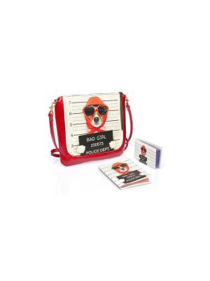 Комплект Bad Girl (Кэжуал в красной коже Girl+обл.на паспорт+визитница) Eshemoda. Цвет: красный