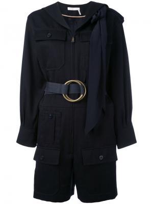 Комбинезон с поясом и накладными карманами Chloé. Цвет: синий