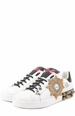 Кожаные кеды Portofino с аппликациями и заклепками Dolce & Gabbana. Цвет: черно-белый