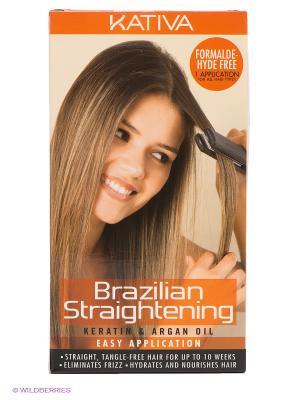 Набор для кератинового выпрямления и восстановления волос Kativa с маслом Арганы KERATINA. Цвет: черный