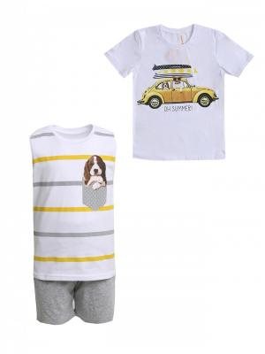 Костюм Николос (майка, футболка, шорты) IVASHKA. Цвет: серый меланж, белый