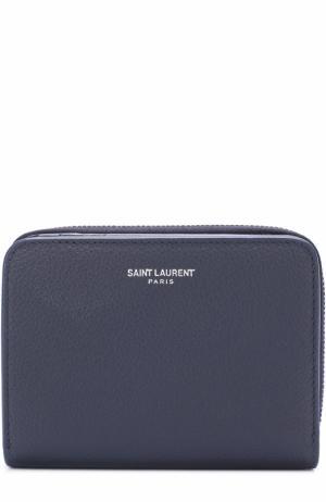Кожаный кошелек на молнии с отделениями для кредитных карт Saint Laurent. Цвет: темно-синий
