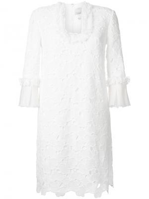 Платье из макраме Huishan Zhang. Цвет: белый