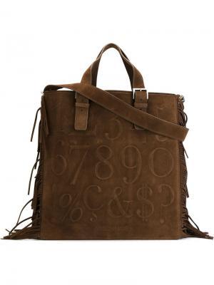 Плоская сумка-тоут Didot Assouline. Цвет: коричневый