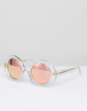 Matthew Williamson Круглые солнцезащитные очки в прозрачной оправе с персиковыми стеклами. Цвет: очистить