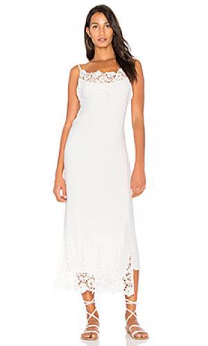 Платье миди slip into Stillwater. Цвет: белый