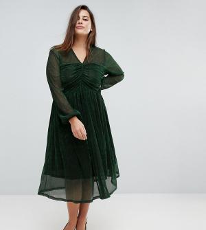 Unique 21 Hero Plus Платье миди с присборенным топом и блестящей отделкой. Цвет: зеленый