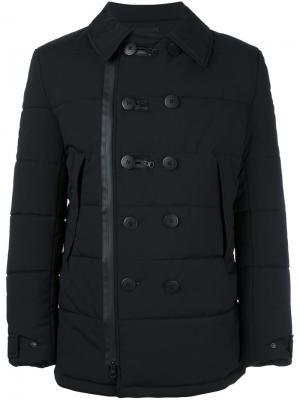 Стеганое двубортное пальто Y-3. Цвет: чёрный