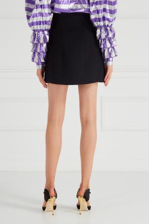 Шерстяная юбка с декорированными пуговицами Alessandra Rich. Цвет: черный