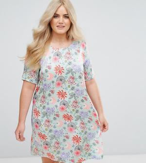 Alice & You Платье с ярким цветочным принтом. Цвет: зеленый