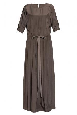 Платье с поясом 188063 Cyrille Gassiline. Цвет: коричневый