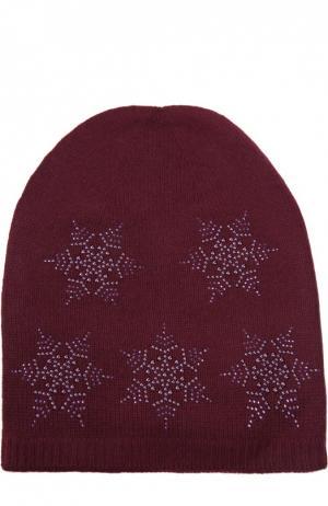Кашемировая шапка с узором в виде снежинок Colombo. Цвет: бордовый