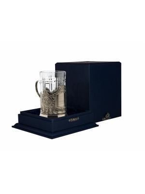 Набор для чая никелированный с чернью под гравировку Герб РФ (подстаканник + стакан футляр) Кольчугинъ. Цвет: серебристый