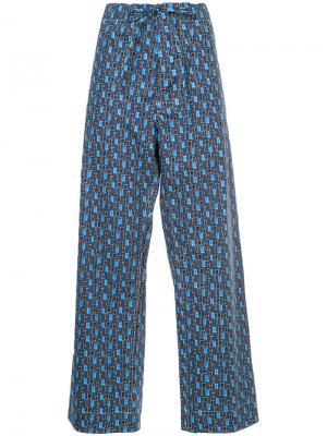 Square print drawstring trousers Marni. Цвет: синий