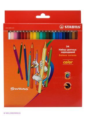 Набор цветных карандашей, 24 цв. Stabilo. Цвет: красный, желтый, синий
