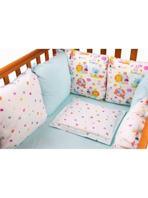 Бампер Слоники 6 подушек DAISY. Цвет: светло-голубой, бледно-розовый, светло-оранжевый