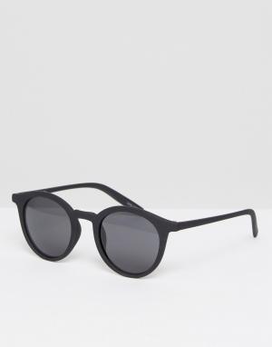 Quay Australia Круглые солнцезащитные очки с черной матовой оправой. Цвет: черный